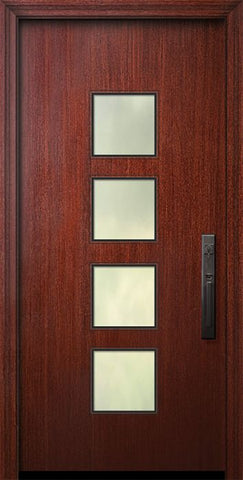 WDMA 32x80 Door (2ft8in by 6ft8in) Exterior Mahogany 80in Venice Solid Contemporary Door w/Textured Glass 1