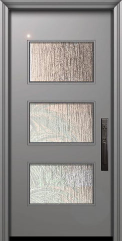 WDMA 32x80 Door (2ft8in by 6ft8in) Exterior Smooth 80in Santa Monica Solid Contemporary Door w/Textured Glass 1