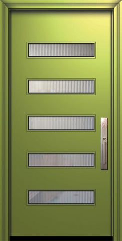 WDMA 32x80 Door (2ft8in by 6ft8in) Exterior Smooth 80in Beverly Solid Contemporary Door w/Textured Glass 1