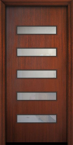 WDMA 32x80 Door (2ft8in by 6ft8in) Exterior Mahogany 80in Beverly Solid Contemporary Door w/Textured Glass 1