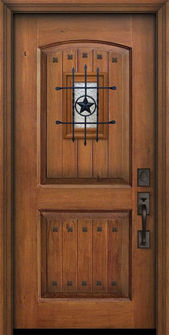 WDMA 32x80 Door (2ft8in by 6ft8in) Exterior Knotty Alder 80in 2 Panel Arch V-Grooved Door with Speakeasy / Clavos 1
