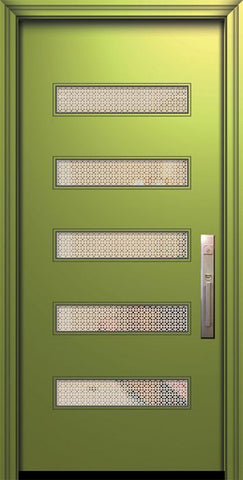 WDMA 32x80 Door (2ft8in by 6ft8in) Exterior Smooth 80in Beverly Solid Contemporary Door w/Metal Grid 1