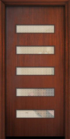 WDMA 32x80 Door (2ft8in by 6ft8in) Exterior Mahogany 80in Beverly Solid Contemporary Door w/Metal Grid 1