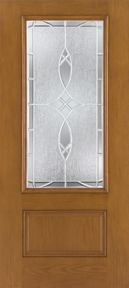 WDMA 32x80 Door (2ft8in by 6ft8in) Exterior Oak Fiberglass Impact Door 3/4 Lite Blackstone 6ft8in 1