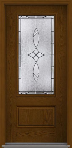 WDMA 32x80 Door (2ft8in by 6ft8in) Exterior Oak Blackstone 3/4 Lite 1 Panel Fiberglass Single Door HVHZ Impact 1