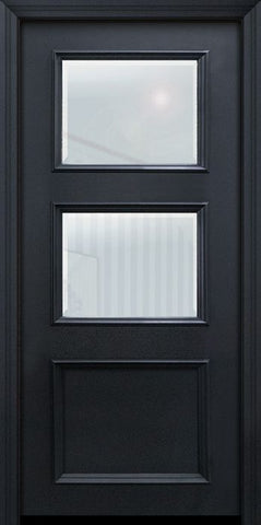 WDMA 32x80 Door (2ft8in by 6ft8in) Exterior 80in ThermaPlus Steel 2 Lite 1 Panel Continental Door w/ Beveled Glass 1