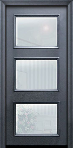 WDMA 32x80 Door (2ft8in by 6ft8in) Exterior 80in ThermaPlus Steel 3 Lite Continental Door w/ Beveled Glass 1