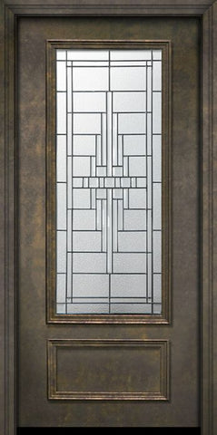 WDMA 32x80 Door (2ft8in by 6ft8in) Exterior 80in ThermaPlus Steel Remington 1 Panel 3/4 Lite Door 1