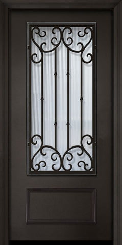 WDMA 32x80 Door (2ft8in by 6ft8in) Exterior 80in ThermaPlus Steel Valencia 1 Panel 3/4 Lite Door 1