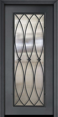 WDMA 32x80 Door (2ft8in by 6ft8in) Exterior 80in ThermaPlus Steel La Salle 1 Panel Full Lite Door 1