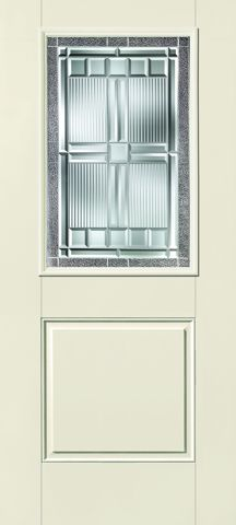 WDMA 32x80 Door (2ft8in by 6ft8in) Exterior Smooth Fiberglass Impact HVHZ Door 1/2 Lite 1 Panel Saratoga 6ft8in 1