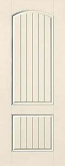 WDMA 32x96 Door (2ft8in by 8ft) Exterior Smooth Fiberglass Impact Door 8ft 2 Panel Plank Soft Arch 1