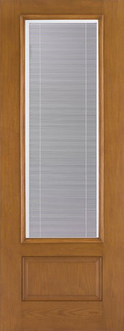 WDMA 32x96 Door (2ft8in by 8ft) Patio Oak Fiberglass Impact Exterior Door 8ft 3/4 Lite Blinds 2