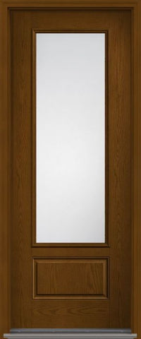 WDMA 32x96 Door (2ft8in by 8ft) Patio Oak Clear 8ft 3/4 Lite 1 Panel Fiberglass Single Exterior Door HVHZ Impact 1