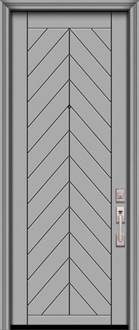 WDMA 32x96 Door (2ft8in by 8ft) Exterior Smooth IMPACT | 96in Chevron Solid Contemporary Door 1
