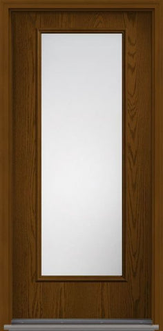 WDMA 32x96 Door (2ft8in by 8ft) Patio Oak Clear 8ft Full Lite W/ Stile Lines Fiberglass Single Exterior Door HVHZ Impact 1