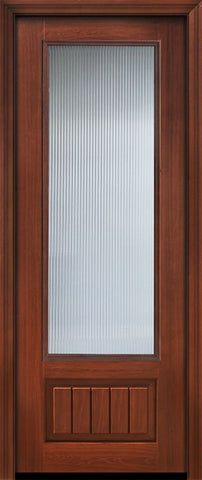 WDMA 32x96 Door (2ft8in by 8ft) French Cherry IMPACT | 96in 3/4 Lite Privacy Glass V-Grooved Panel Door 1