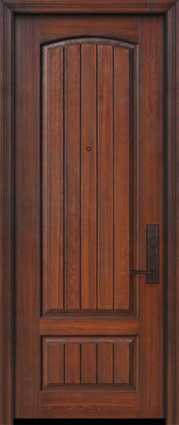 WDMA 32x96 Door (2ft8in by 8ft) Exterior Cherry 96in 2 Panel Arch V-Grooved or Knotty Alder Door 1