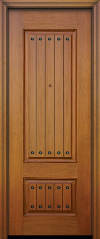 WDMA 32x96 Door (2ft8in by 8ft) Exterior Mahogany IMPACT | 96in 2 Panel Square V-Grooved Door with Clavos 1