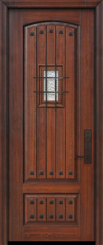 WDMA 32x96 Door (2ft8in by 8ft) Exterior Cherry IMPACT | 96in 2 Panel Arch V-Grooved or Knotty Alder Door with Speakeasy / Clavos 1