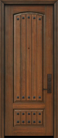 WDMA 32x96 Door (2ft8in by 8ft) Exterior Cherry 96in 2 Panel Arch V-Grooved or Knotty Alder Door with Clavos 1