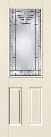WDMA 32x96 Door (2ft8in by 8ft) Exterior Smooth Fiberglass Impact Door 8ft 1/2 Lite Maple Park 1