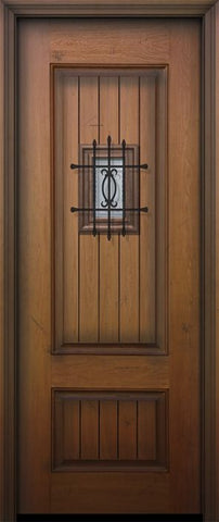 WDMA 32x96 Door (2ft8in by 8ft) Exterior Mahogany IMPACT | 96in 2 Panel Square V-Grooved Door with Speakeasy 1