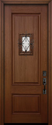 WDMA 32x96 Door (2ft8in by 8ft) Exterior Mahogany IMPACT | 96in 2 Panel Square Door with Speakeasy 1