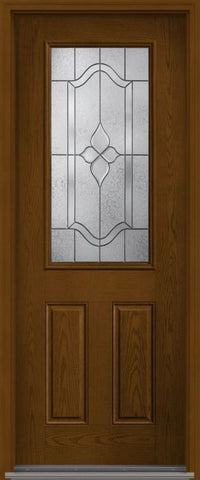 WDMA 32x96 Door (2ft8in by 8ft) Exterior Oak Concorde 8ft Half Lite 2 Panel Fiberglass Single Door HVHZ Impact 1