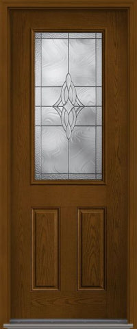 WDMA 32x96 Door (2ft8in by 8ft) Exterior Oak Wellesley 8ft Half Lite 2 Panel Fiberglass Single Door HVHZ Impact 1