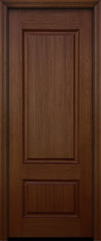 WDMA 32x96 Door (2ft8in by 8ft) Exterior Mahogany 96in 2 Panel Square V-grooved Door 1