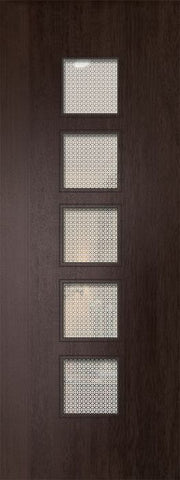 WDMA 32x96 Door (2ft8in by 8ft) Exterior Mahogany 96in Venice Contemporary Door w/Metal Grid 1