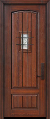 WDMA 32x96 Door (2ft8in by 8ft) Exterior Cherry 96in 2 Panel Arch V-Grooved or Knotty Alder Door with Speakeasy 1
