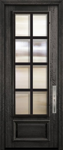 WDMA 32x96 Door (2ft8in by 8ft) Exterior Mahogany 96in 3/4 Lite Minimal Steel Grille Portobello Door 2