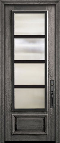 WDMA 32x96 Door (2ft8in by 8ft) Exterior Mahogany 96in 3/4 Lite Urban Steel Grille Portobello Door 2