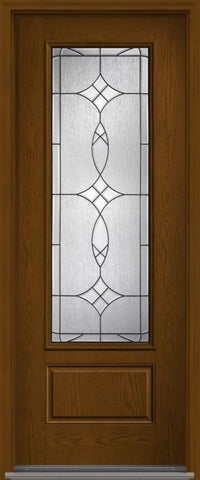 WDMA 32x96 Door (2ft8in by 8ft) Exterior Oak Blackstone 8ft 3/4 Lite 1 Panel Fiberglass Single Door HVHZ Impact 1
