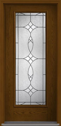 WDMA 32x96 Door (2ft8in by 8ft) Exterior Oak Blackstone 8ft Full Lite W/ Stile Lines Fiberglass Single Door HVHZ Impact 1