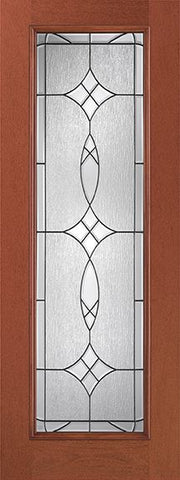 WDMA 32x96 Door (2ft8in by 8ft) Exterior Mahogany Fiberglass Impact Door 8ft Full Lite With Stile Lines Blackstone 1