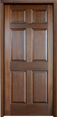 WDMA 34x78 Door (2ft10in by 6ft6in) Exterior Mahogany Colonial Six Panel Impact Single Door 1