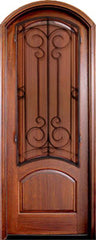 WDMA 34x78 Door (2ft10in by 6ft6in) Exterior Mahogany Aberdeen Solid Panel Single/Arch Top w Sherwood Iron 1