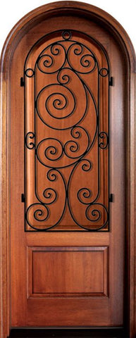 WDMA 34x78 Door (2ft10in by 6ft6in) Exterior Mahogany Pinehurst Solid Panel Single/Round Top w Ansonborough Iron 1