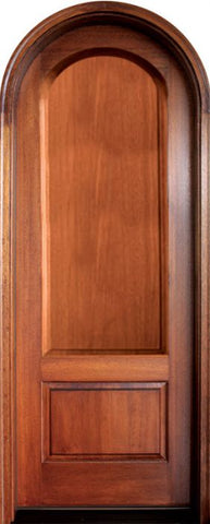 WDMA 34x78 Door (2ft10in by 6ft6in) Exterior Mahogany Pinehurst Solid Panel Single/Round Top 1