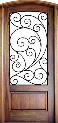 WDMA 34x78 Door (2ft10in by 6ft6in) Exterior Mahogany Burlwood Single/Arch Top Trinity 1
