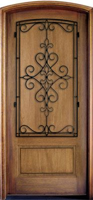 WDMA 34x78 Door (2ft10in by 6ft6in) Exterior Mahogany Trinity Solid Panel Single/Arch Top w Gilford Iron 1