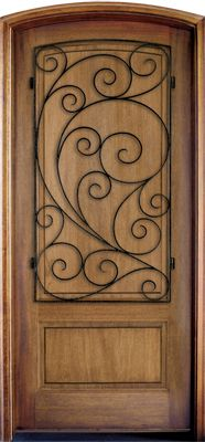 WDMA 34x78 Door (2ft10in by 6ft6in) Exterior Mahogany Trinity Solid Panel Single/Arch Top w Burlwood Iron 1