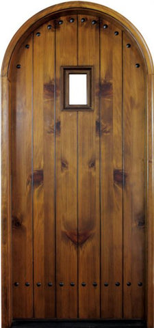 WDMA 34x78 Door (2ft10in by 6ft6in) Exterior Knotty Alder Cornwall Single/Round Top 1-3/4 Thick Door 1