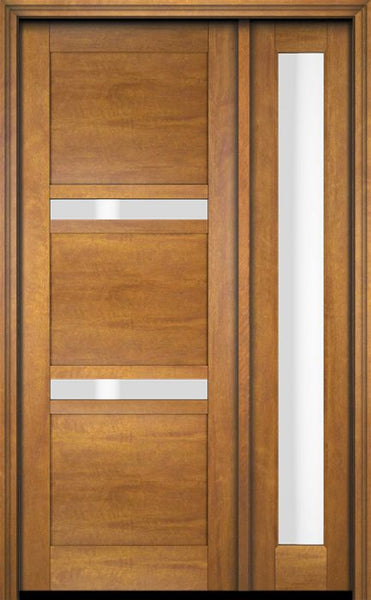 WDMA 34x78 Door (2ft10in by 6ft6in) Exterior Swing Mahogany 132 Windermere Shaker Single Entry Door Sidelight 1
