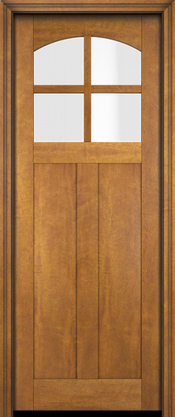 WDMA 34x78 Door (2ft10in by 6ft6in) Exterior Swing Mahogany 4 Arch Lite Craftsman 2 Panel or Interior Single Door 1