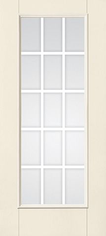 WDMA 34x80 Door (2ft10in by 6ft8in) Patio Smooth F-Grille Colonial 15 Lite Full Lite W/ Stile Lines Star Single Door 1