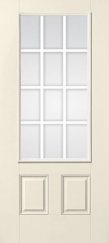 WDMA 34x80 Door (2ft10in by 6ft8in) Patio Smooth GBG Flat Wht Colonial 12 Lite Star Single Door 1